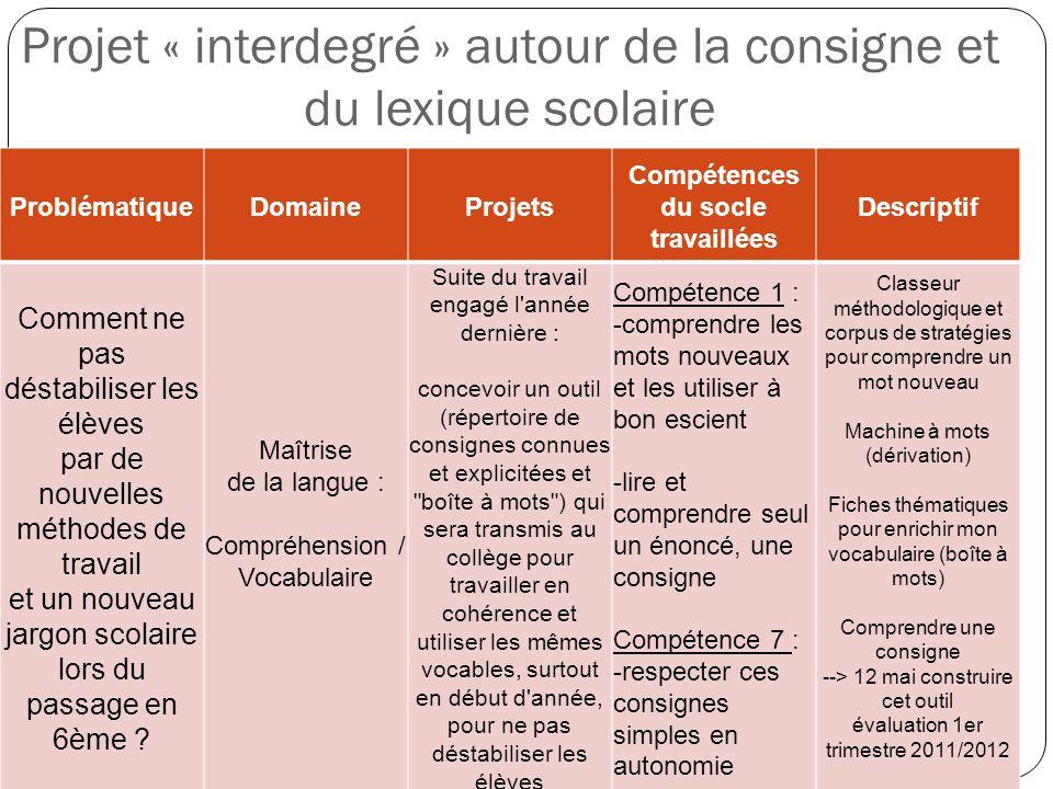 Projet « interdegré » autour de la consigne et du lexique scolaire