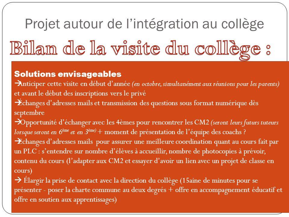 Projet autour de l'intégration au collège