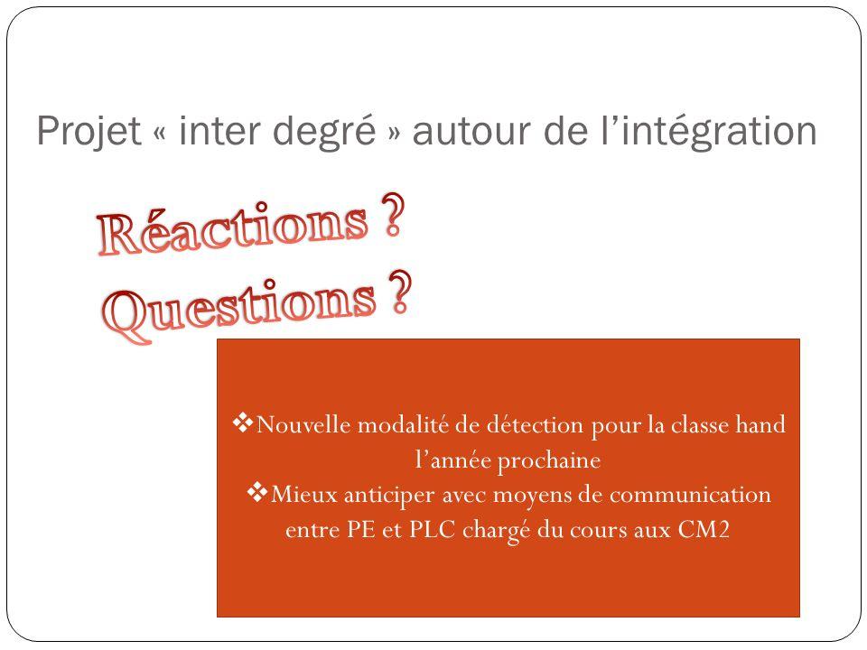 Projet « inter degré » autour de l'intégration