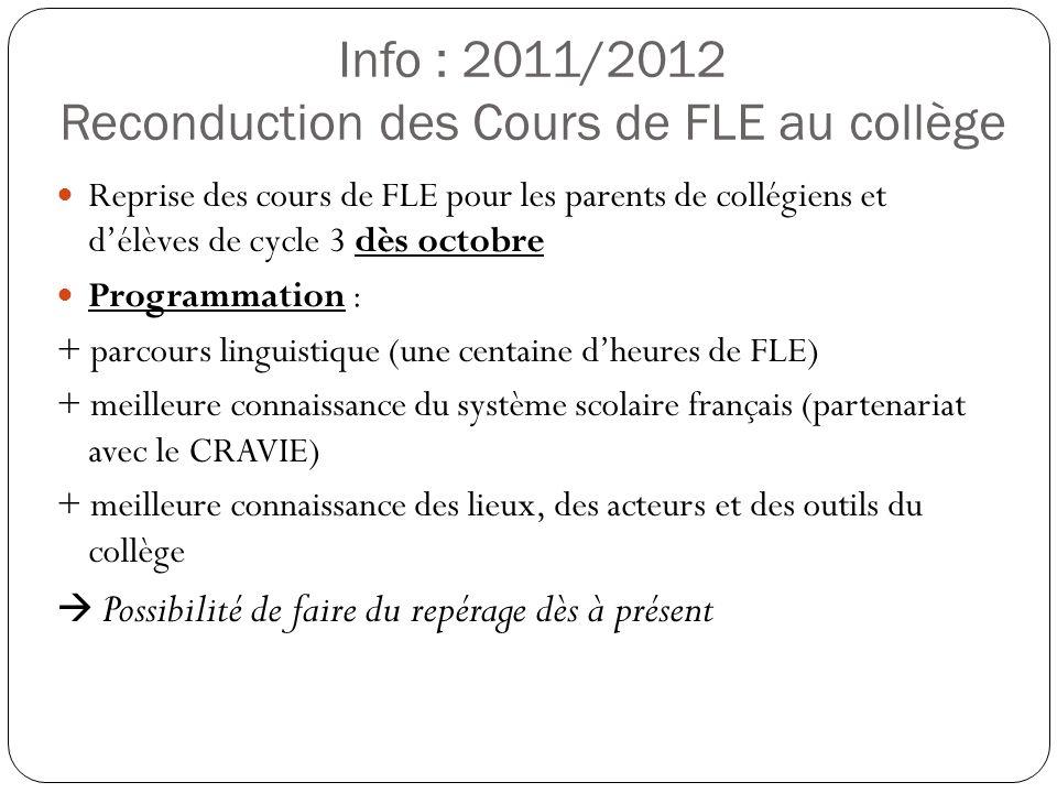 Info : 2011/2012 Reconduction des Cours de FLE au collège
