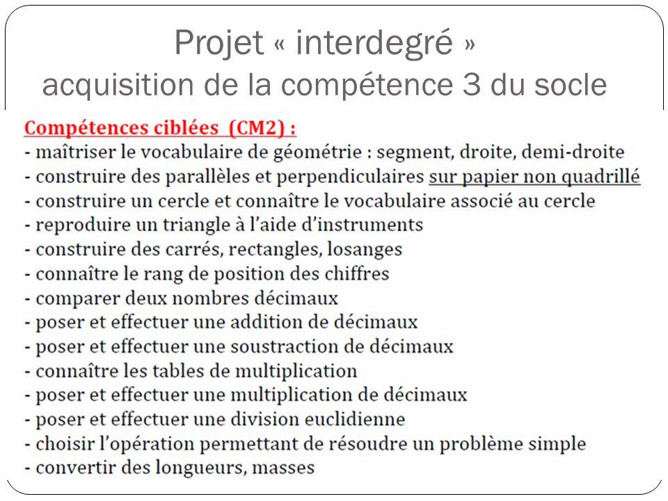 Projet « interdegré » acquisition de la compétence 3 du socle