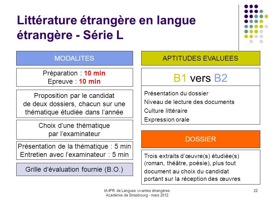 Littérature étrangère en langue étrangère - Série L