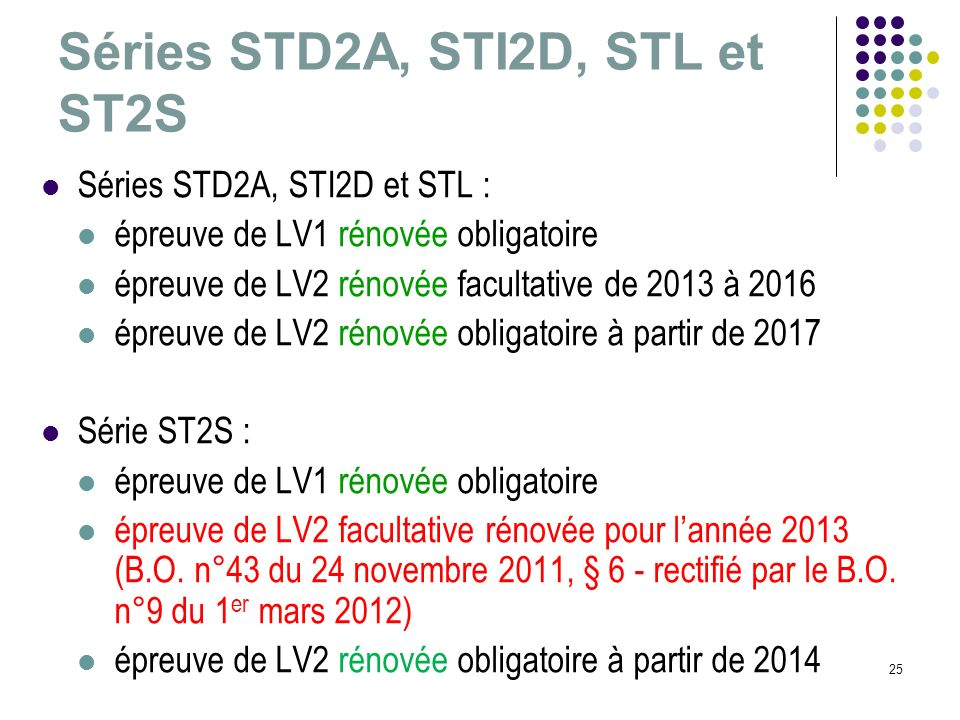 Séries STD2A, STI2D, STL et ST2S