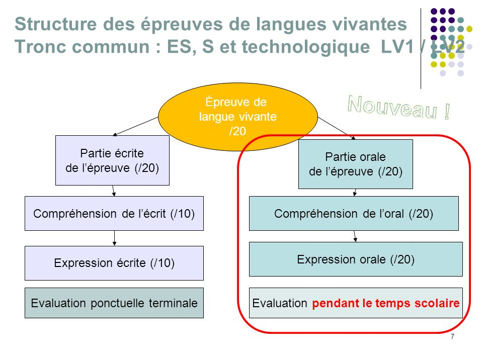 Structure des épreuves de langues vivantes Tronc commun : ES, S et technologique LV1 / LV2