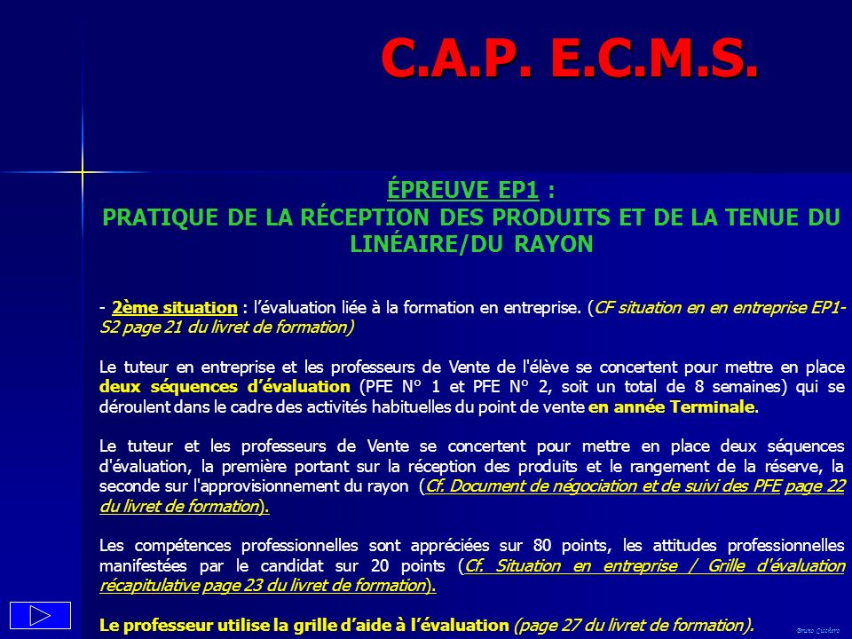 C.A.P. E.C.M.S. ÉPREUVE EP1 : PRATIQUE DE LA RÉCEPTION DES PRODUITS ET DE LA TENUE DU LINÉAIRE/DU RAYON.