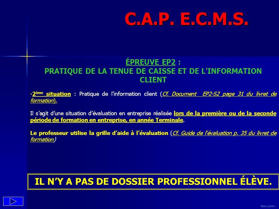 C.A.P. E.C.M.S. IL N'Y A PAS DE DOSSIER PROFESSIONNEL ÉLÈVE.
