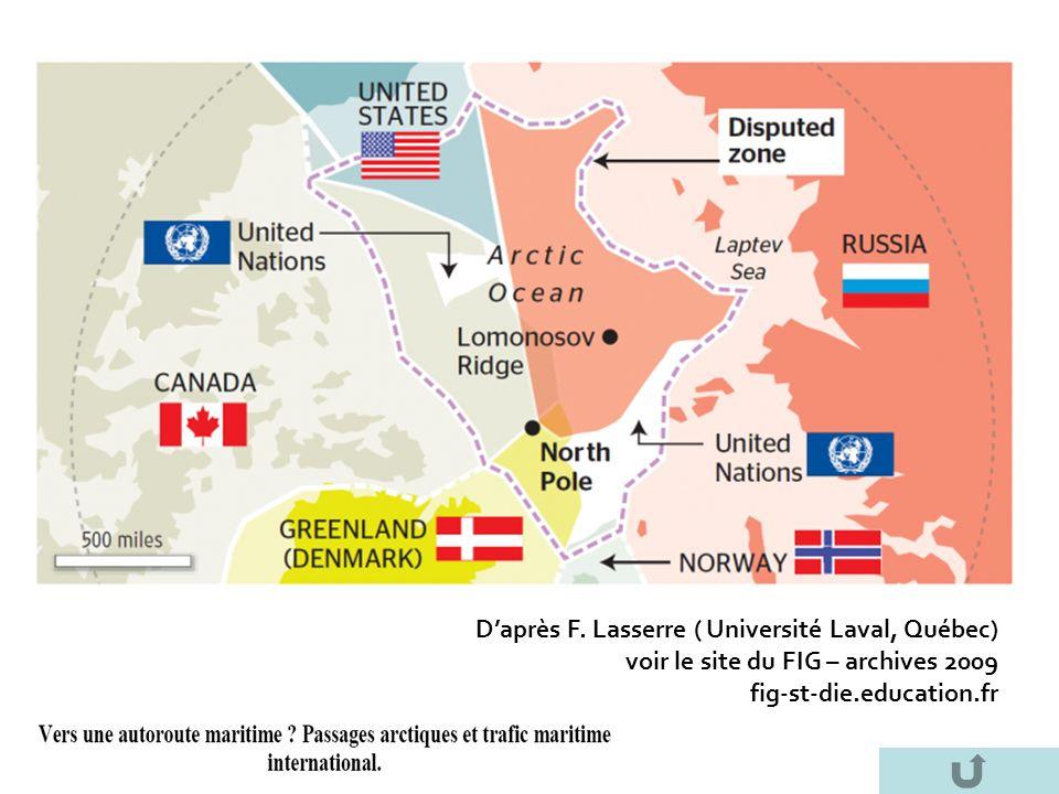 D'après F. Lasserre ( Université Laval, Québec)