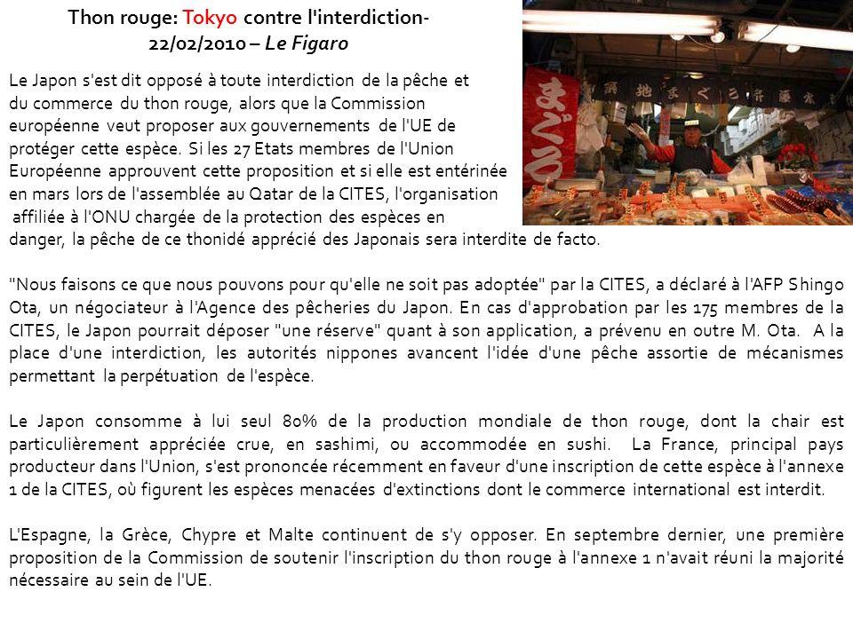 Thon rouge: Tokyo contre l interdiction-