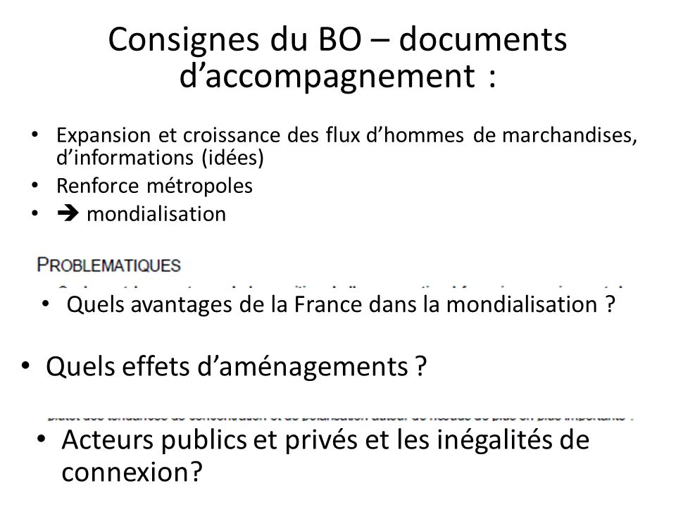 Consignes du BO – documents d'accompagnement :