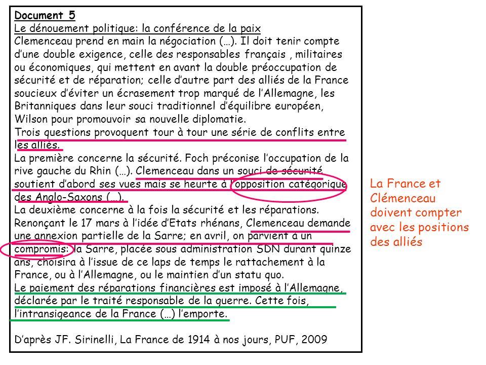 La France et Clémenceau doivent compter avec les positions des alliés