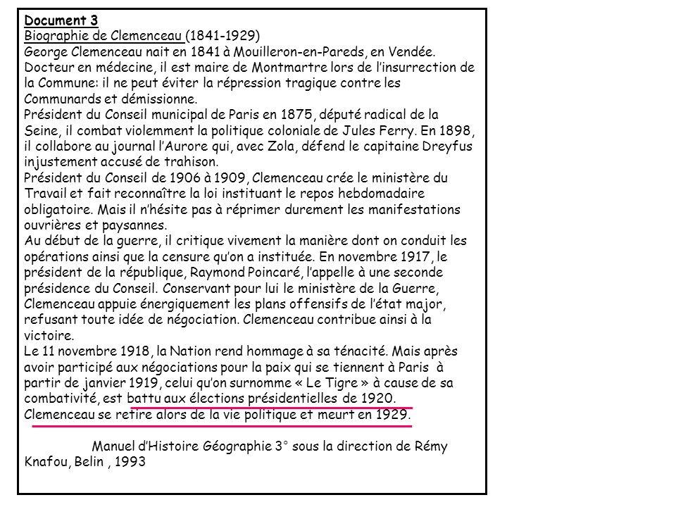 Document 3Biographie de Clemenceau (1841-1929)