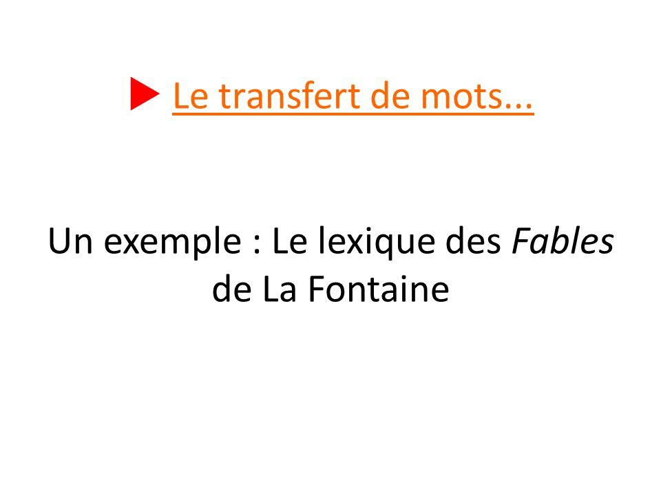  Le transfert de mots... Un exemple : Le lexique des Fables de La Fontaine