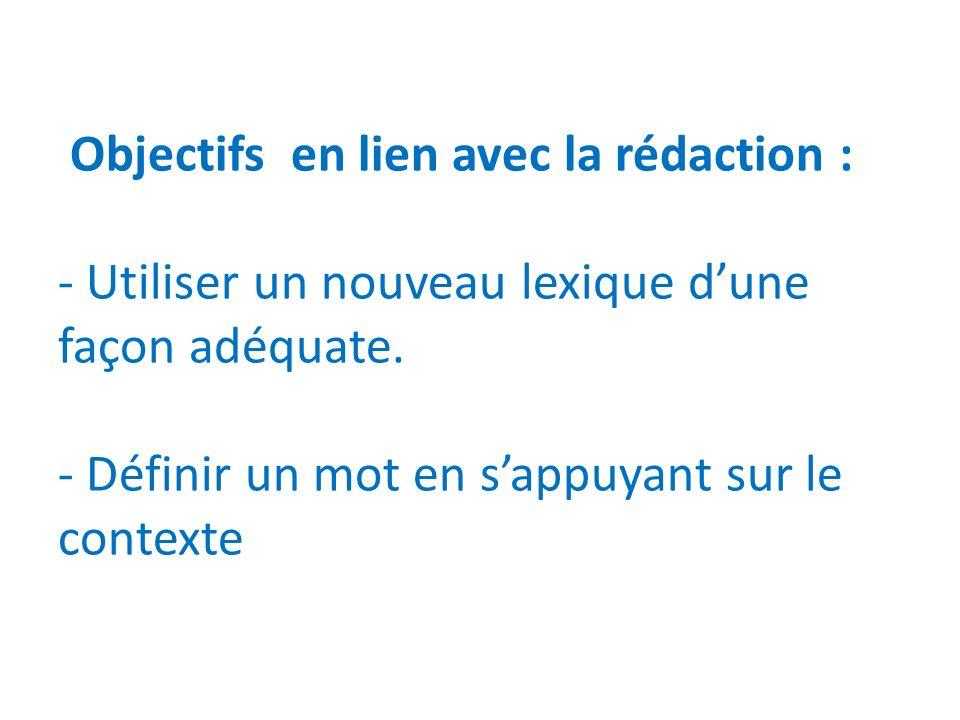 Objectifs en lien avec la rédaction : - Utiliser un nouveau lexique d'une façon adéquate.