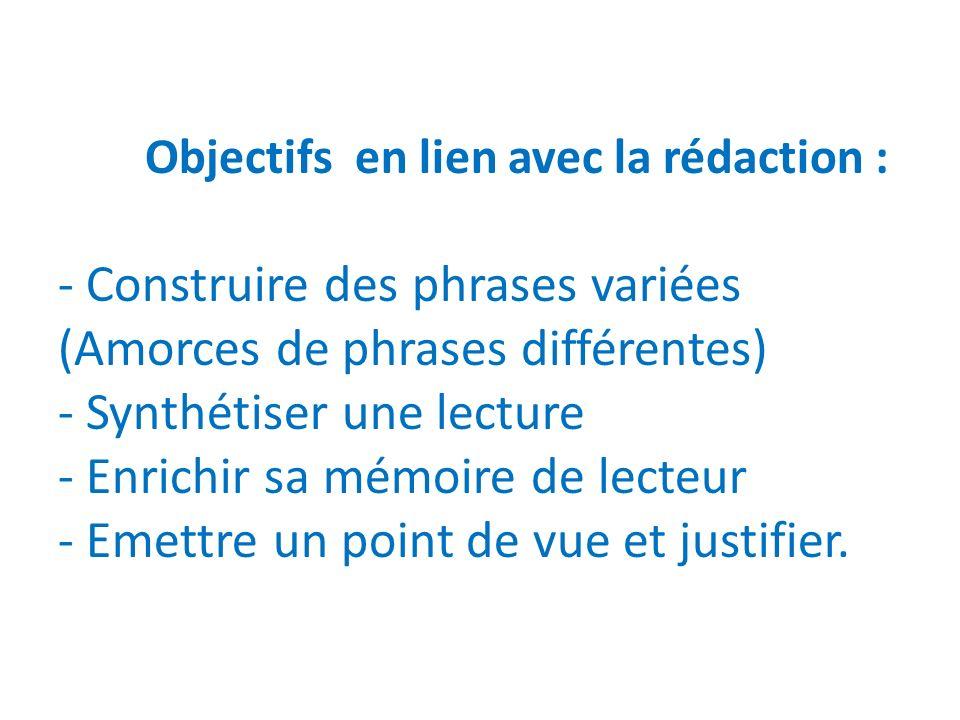 Objectifs en lien avec la rédaction : - Construire des phrases variées (Amorces de phrases différentes) - Synthétiser une lecture - Enrichir sa mémoire de lecteur - Emettre un point de vue et justifier.