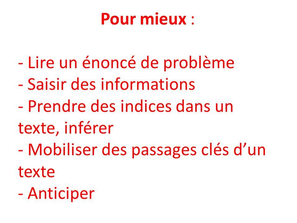 Pour mieux : - Lire un énoncé de problème - Saisir des informations - Prendre des indices dans un texte, inférer - Mobiliser des passages clés d'un texte - Anticiper
