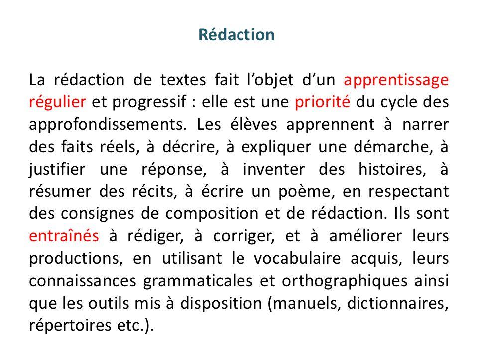Rédaction La rédaction de textes fait l'objet d'un apprentissage régulier et progressif : elle est une priorité du cycle des approfondissements.