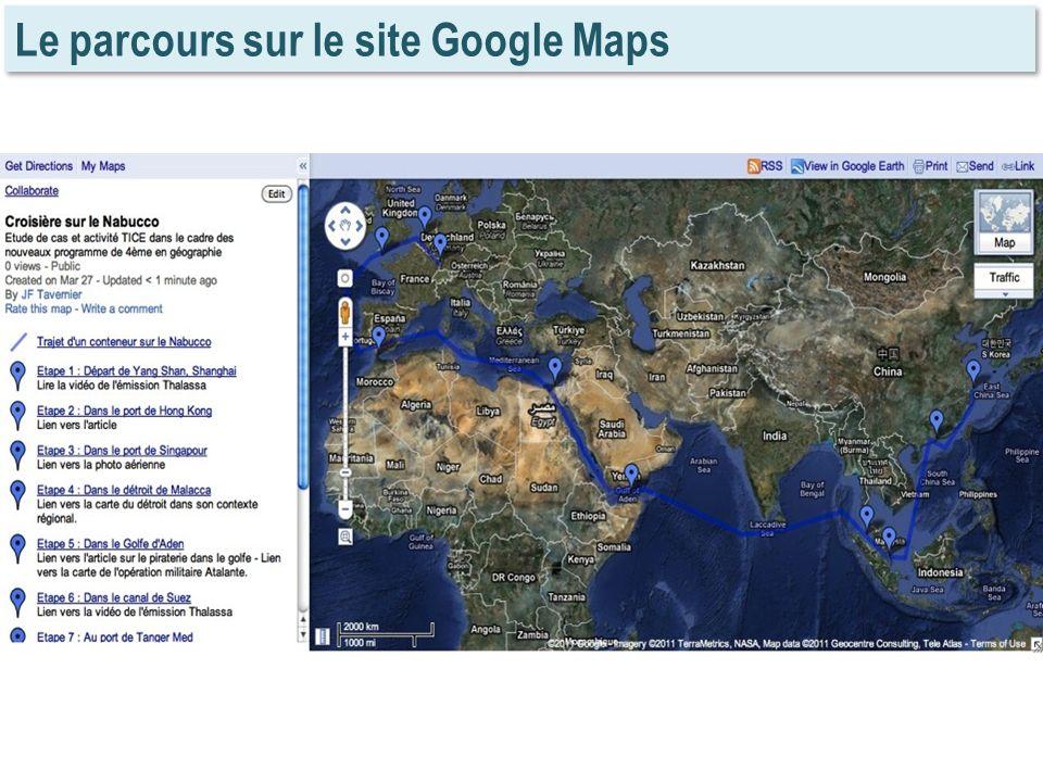 Le parcours sur le site Google Maps