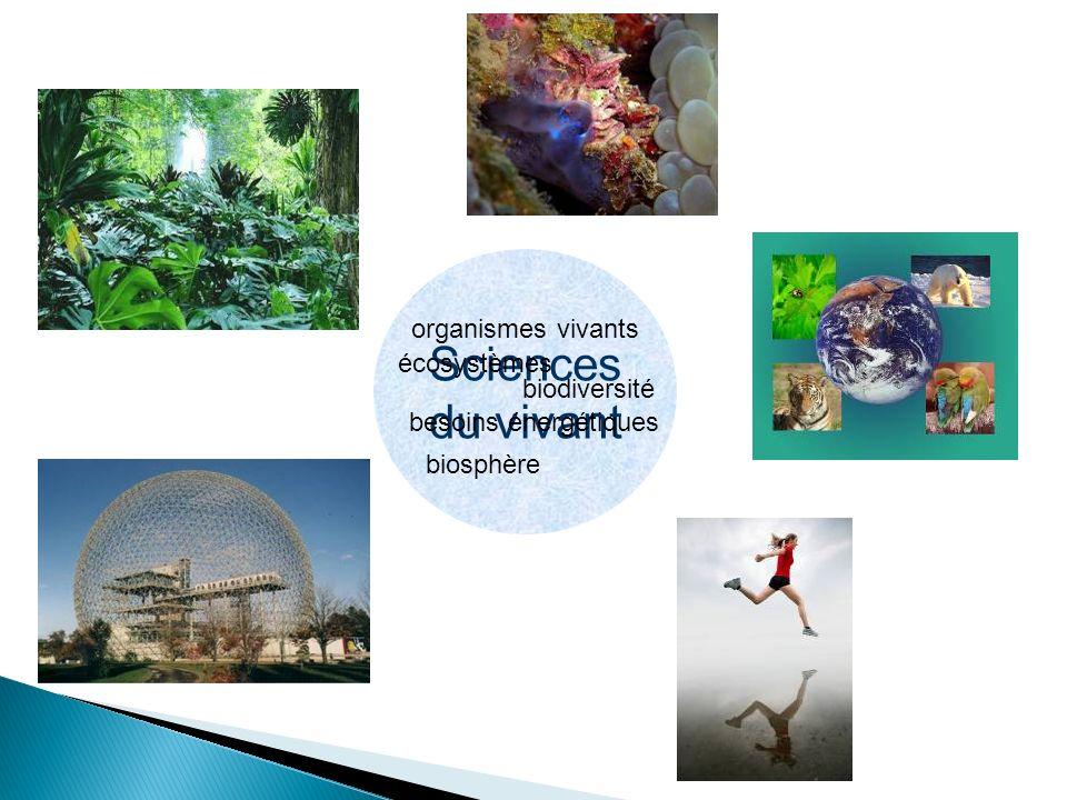 Sciences du vivant organismes vivants écosystèmes biodiversité