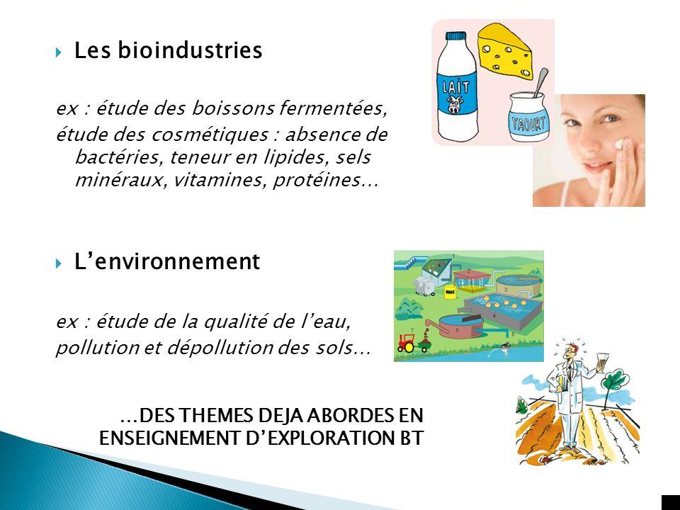 Les bioindustries L'environnement ex : étude des boissons fermentées,