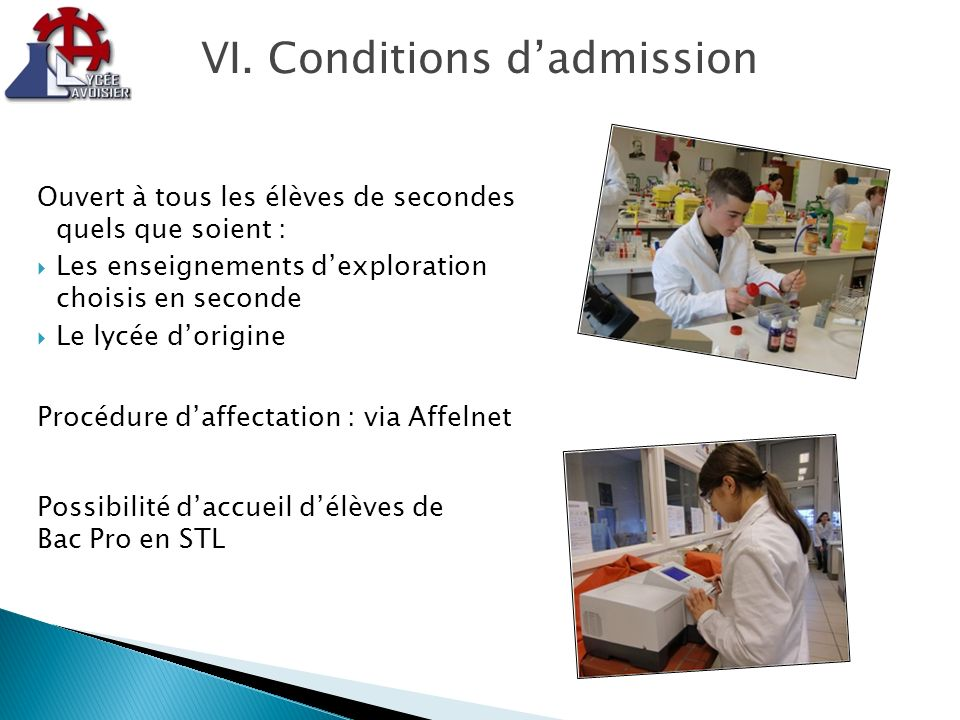 VI. Conditions d'admission