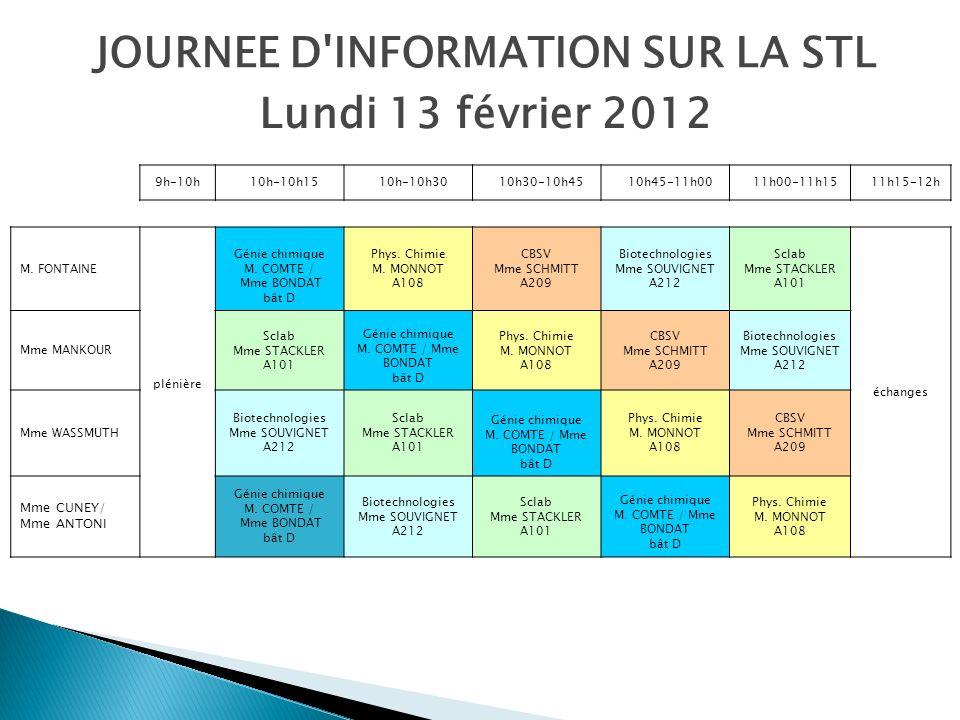 JOURNEE D INFORMATION SUR LA STL