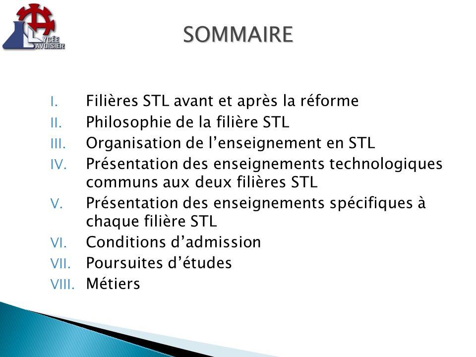 SOMMAIRE Filières STL avant et après la réforme