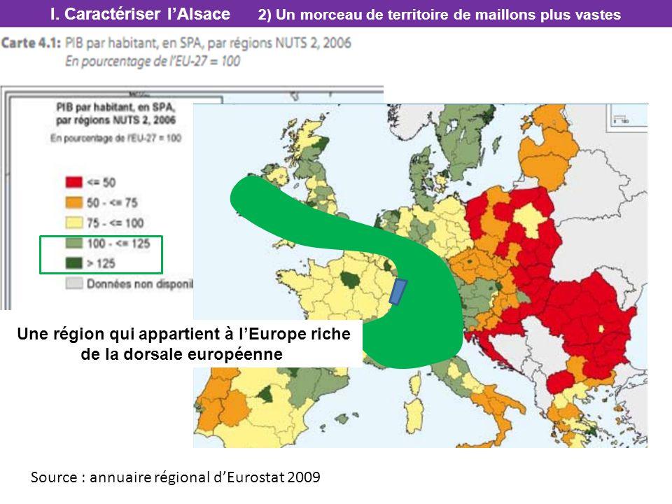Une région qui appartient à l'Europe riche de la dorsale européenne