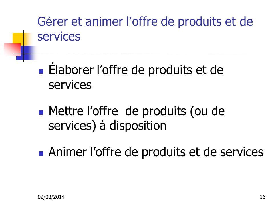 Gérer et animer l'offre de produits et de services