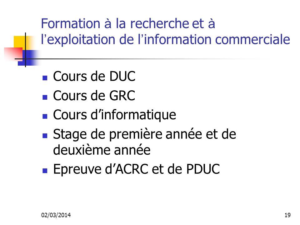 Stage de première année et de deuxième année Epreuve d'ACRC et de PDUC
