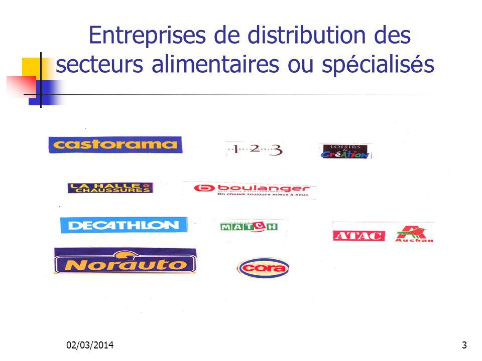 Entreprises de distribution des secteurs alimentaires ou spécialisés