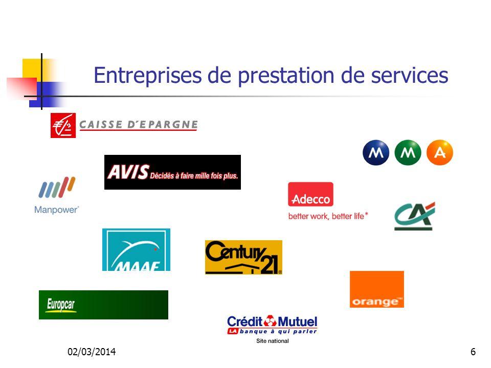 Entreprises de prestation de services