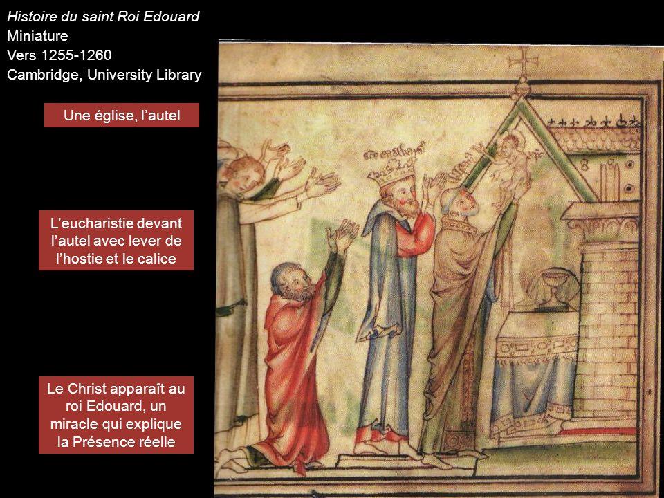 L'eucharistie devant l'autel avec lever de l'hostie et le calice