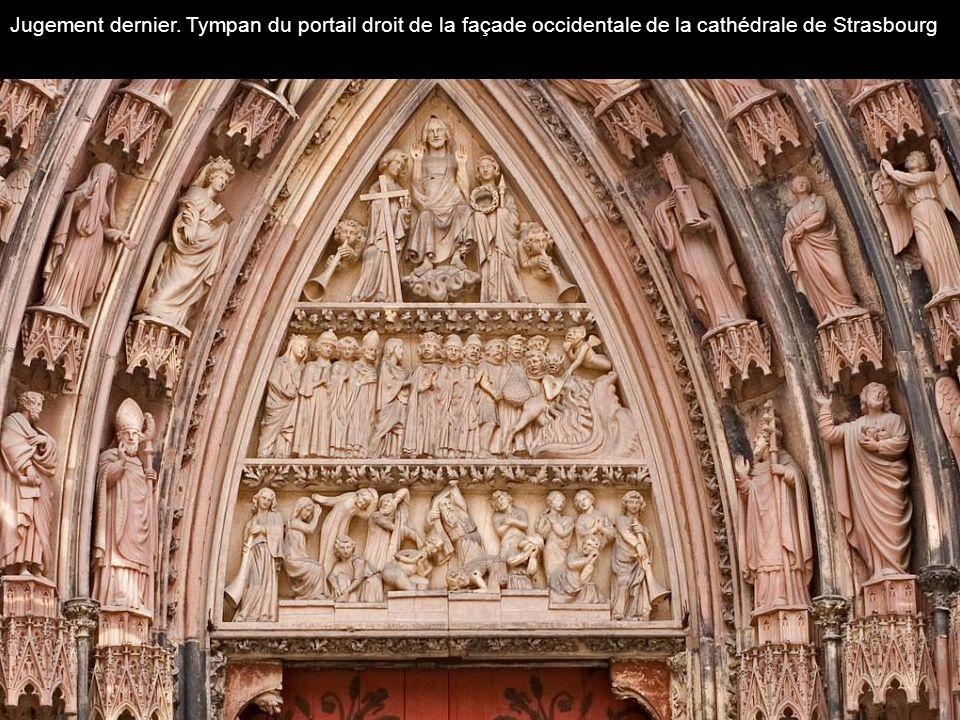 Jugement dernier. Tympan du portail droit de la façade occidentale de la cathédrale de Strasbourg