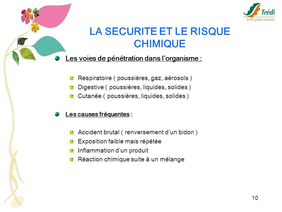LA SECURITE ET LE RISQUE CHIMIQUE
