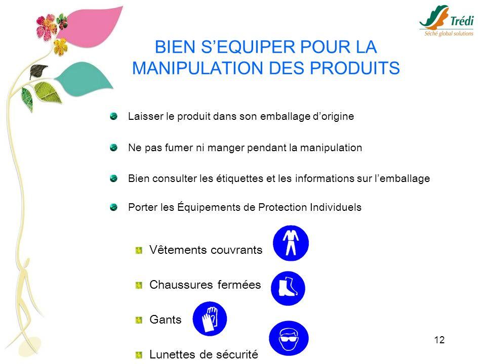 BIEN S'EQUIPER POUR LA MANIPULATION DES PRODUITS