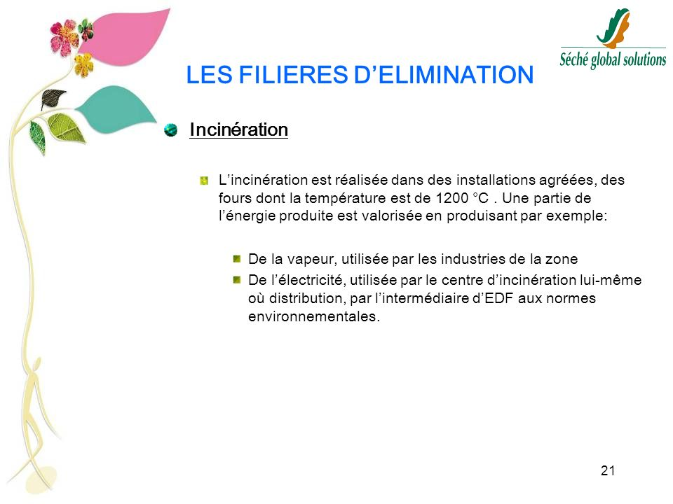 LES FILIERES D'ELIMINATION