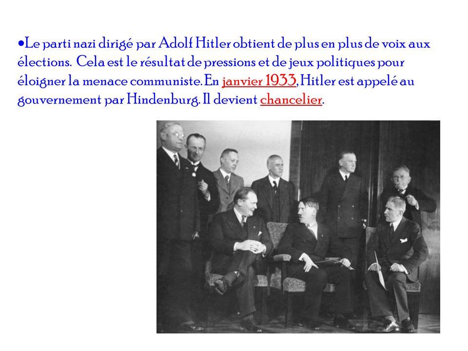 Le parti nazi dirigé par Adolf Hitler obtient de plus en plus de voix aux élections.