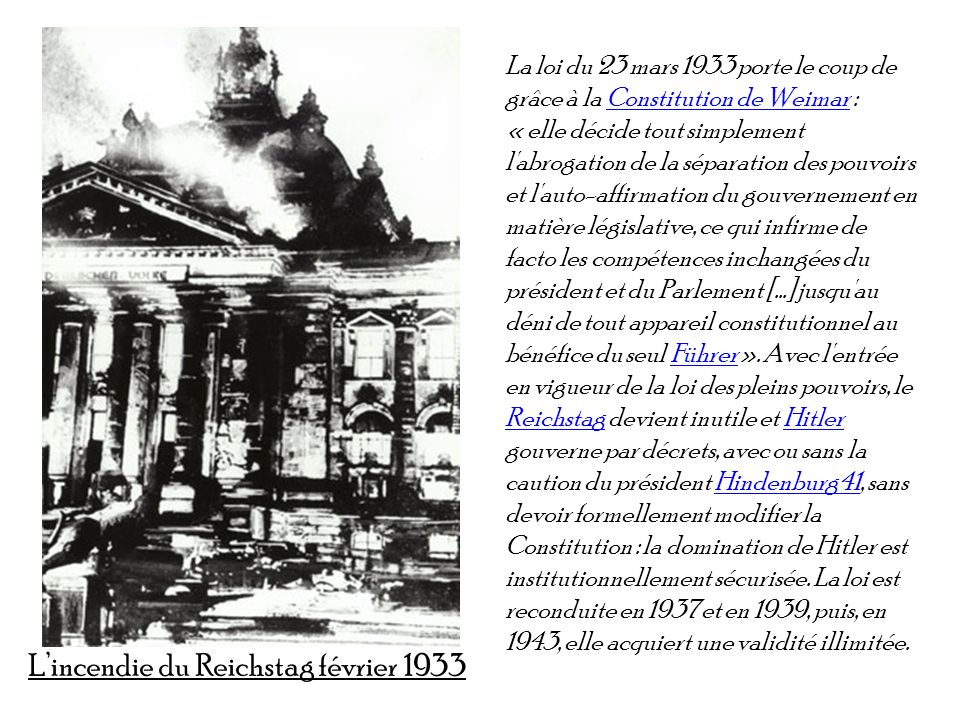 L'incendie du Reichstag février 1933