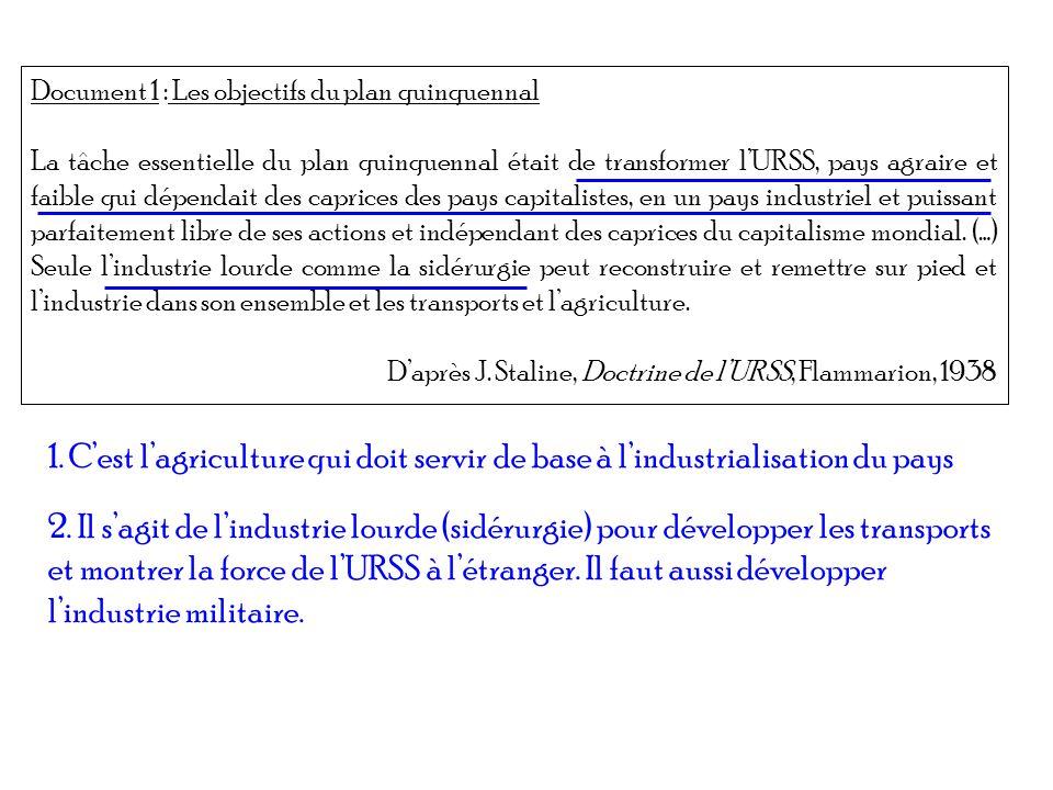 Document 1 : Les objectifs du plan quinquennal