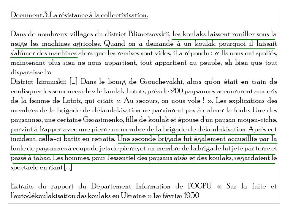 Document 3. La résistance à la collectivisation.