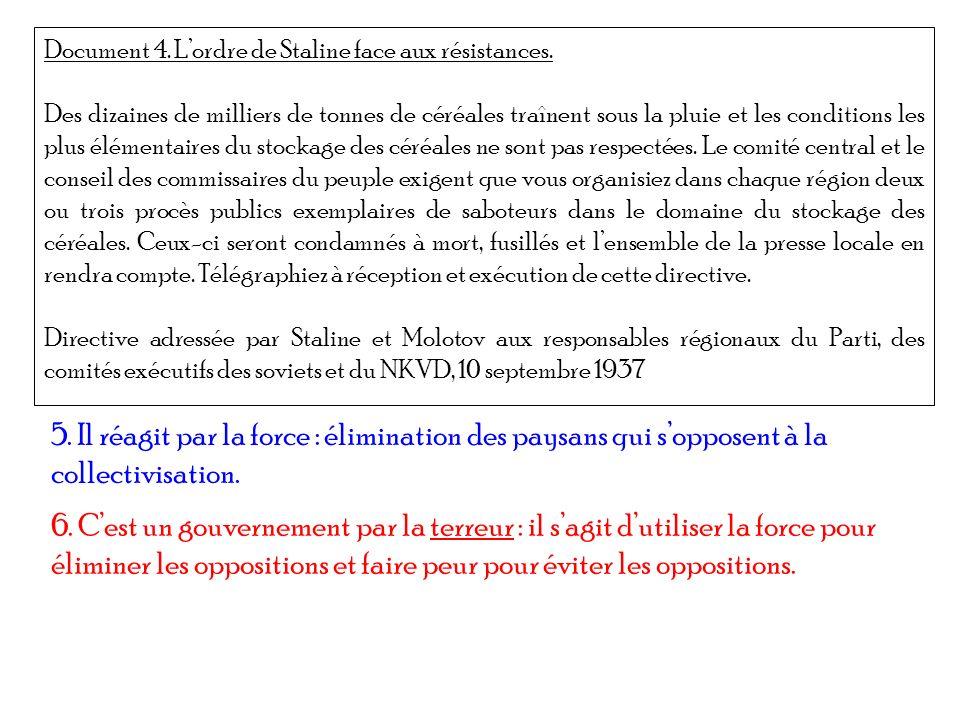 Document 4. L'ordre de Staline face aux résistances.