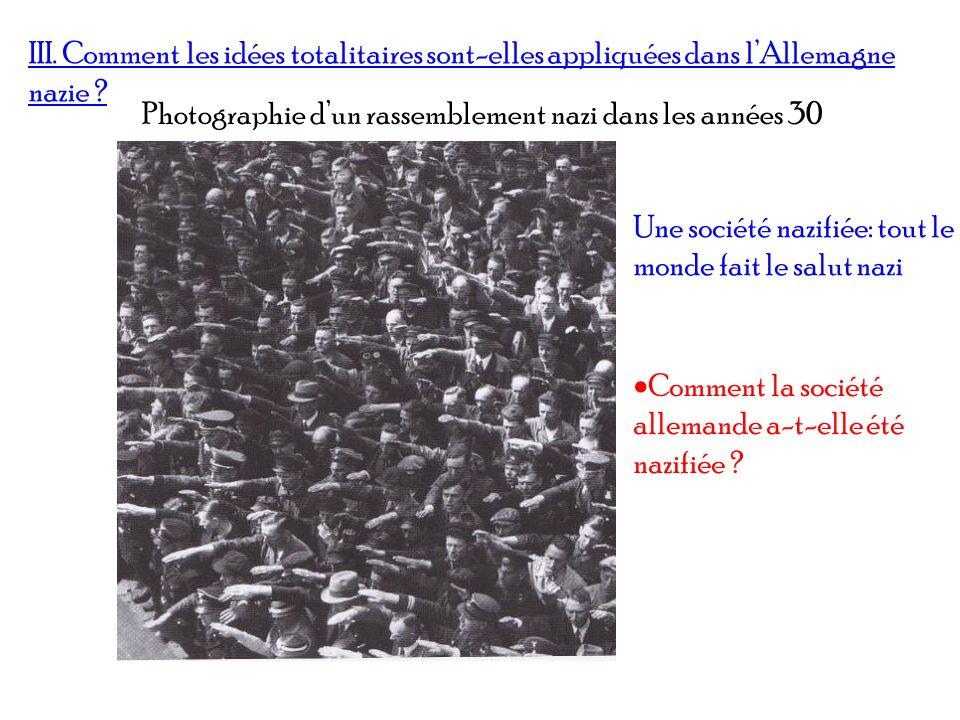 III. Comment les idées totalitaires sont-elles appliquées dans l'Allemagne nazie