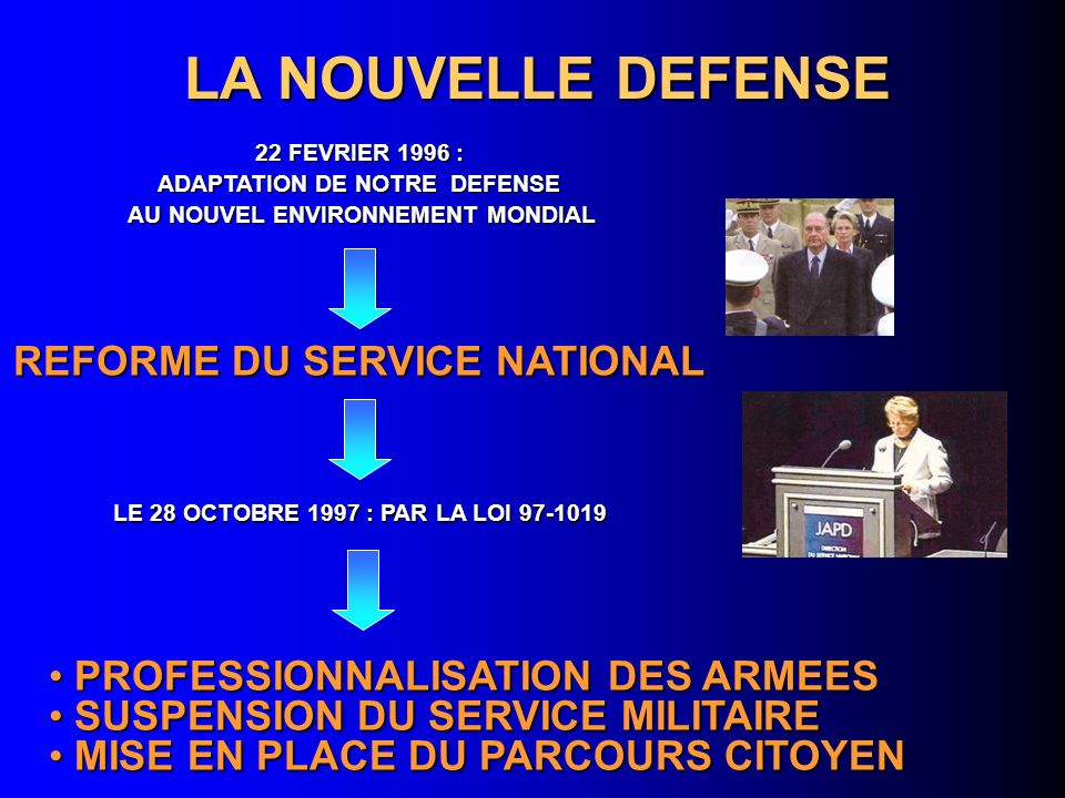 LA NOUVELLE DEFENSE REFORME DU SERVICE NATIONAL