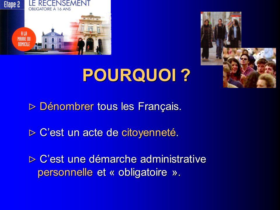 POURQUOI Dénombrer tous les Français. C'est un acte de citoyenneté.
