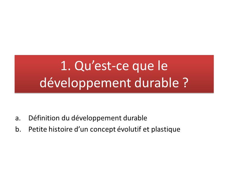 1. Qu'est-ce que le développement durable