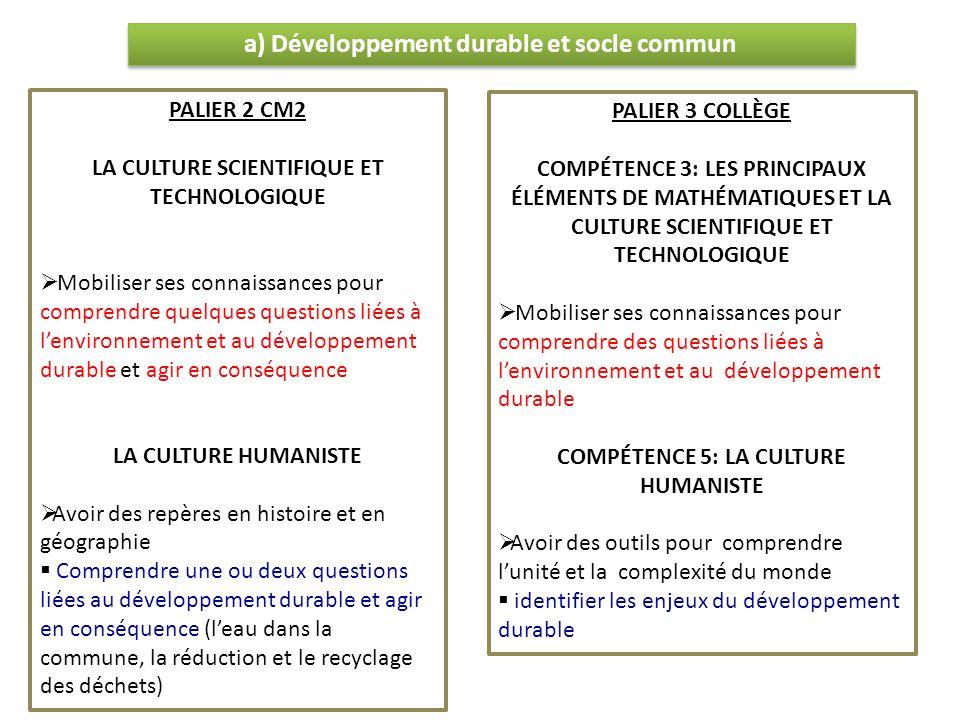 a) Développement durable et socle commun