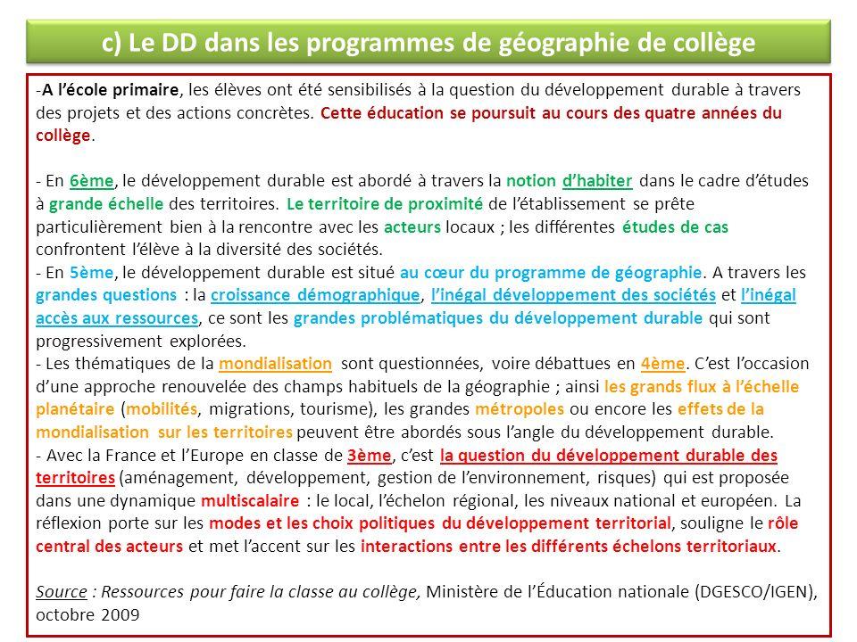 c) Le DD dans les programmes de géographie de collège