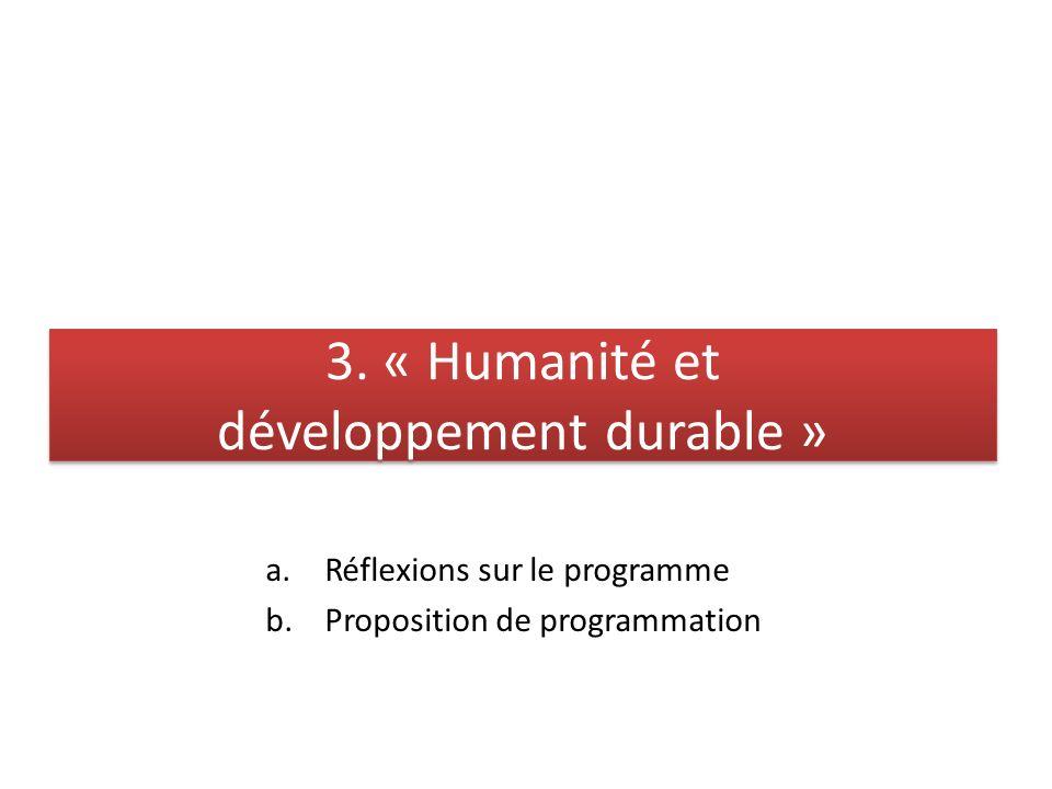 3. « Humanité et développement durable »
