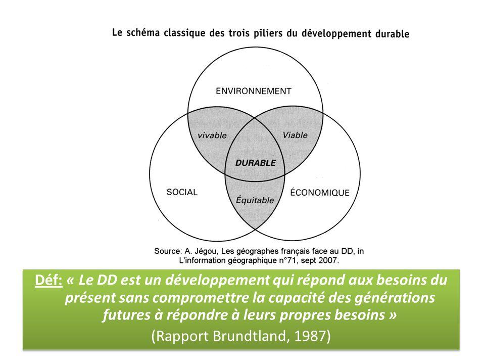 Déf: « Le DD est un développement qui répond aux besoins du présent sans compromettre la capacité des générations futures à répondre à leurs propres besoins »