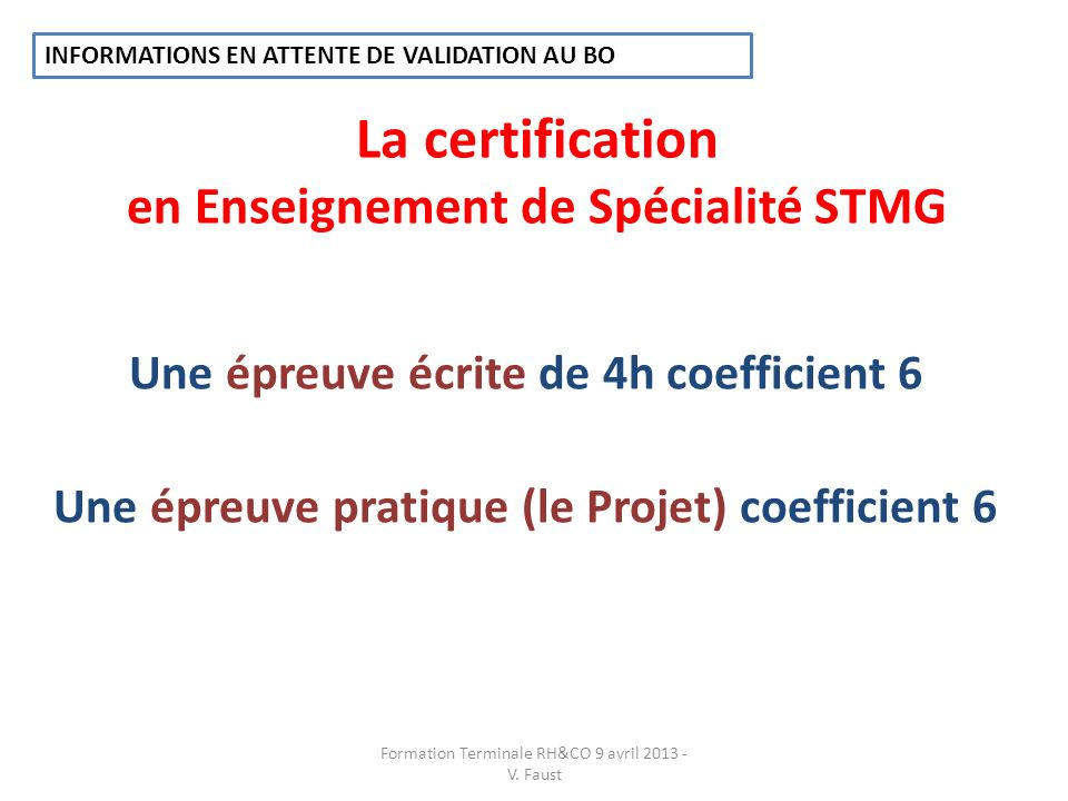 La certification en Enseignement de Spécialité STMG